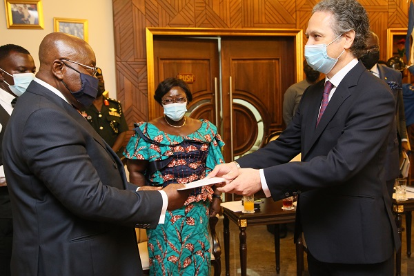 President Nana Addo Dankwa Akufo-Addo receiving letters of credence from Mr Gutierrez Blanco-Navarrete, Jose Javier, Spanish Ambassador to Ghana at the Jubilee House.